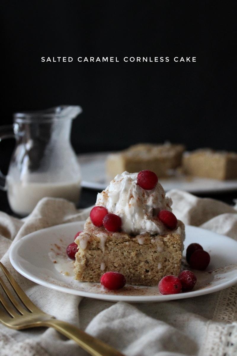 Salted Caramel Cornless Cake (lectin-free, sugar-free, & vegan)
