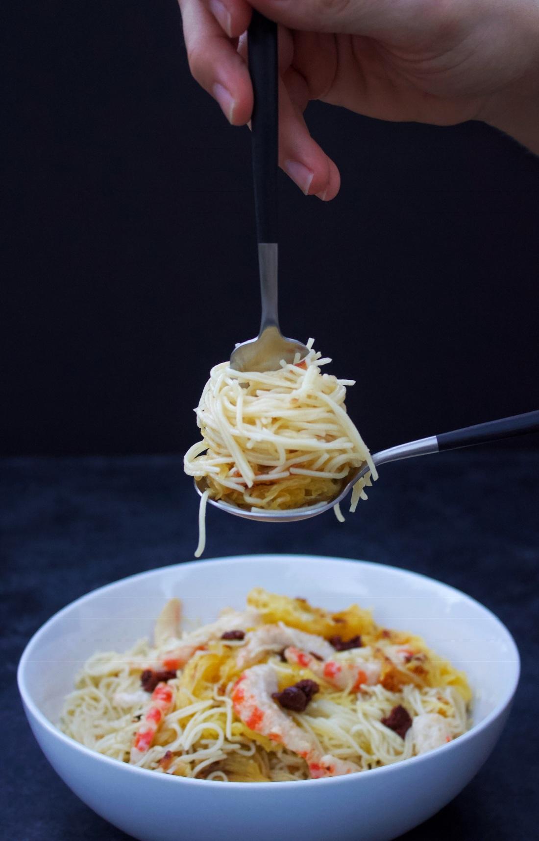 Garlic Butter Shrimp Angel Hair Pasta Spaghetti Squash With Sun